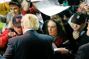 Donald Trump supporters attempt to get the presidential candidate's signature after his rally at the Mabee Center at Oral Roberts University in Tulsa on Wednesday, January 20th, 2016. IAN MAULE/Tulsa World